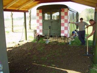 Stavba pergoly a pokládka dlažby